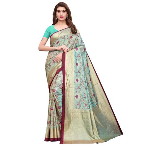Sensational Aqua Blue Colored Casual Wear Printed Silk Saree