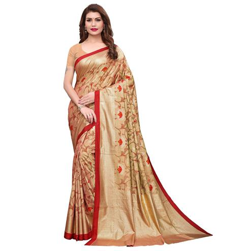 Opulent Beige Colored Casual Wear Printed Silk Saree