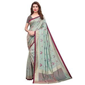 Dazzling Aqua Blue Colored Casual Wear Printed Silk Saree