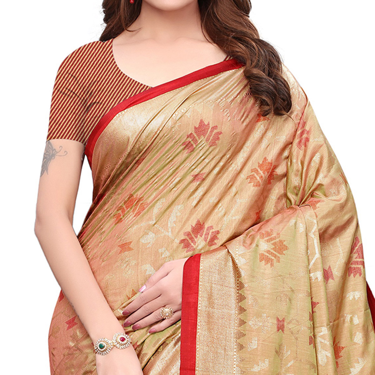 Breathtaking Beige Colored Casual Wear Printed Silk Saree