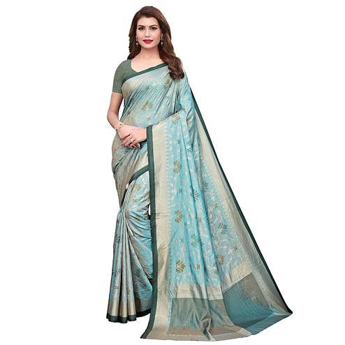 Impressive Sky Blue Colored Casual Wear Printed Silk Saree