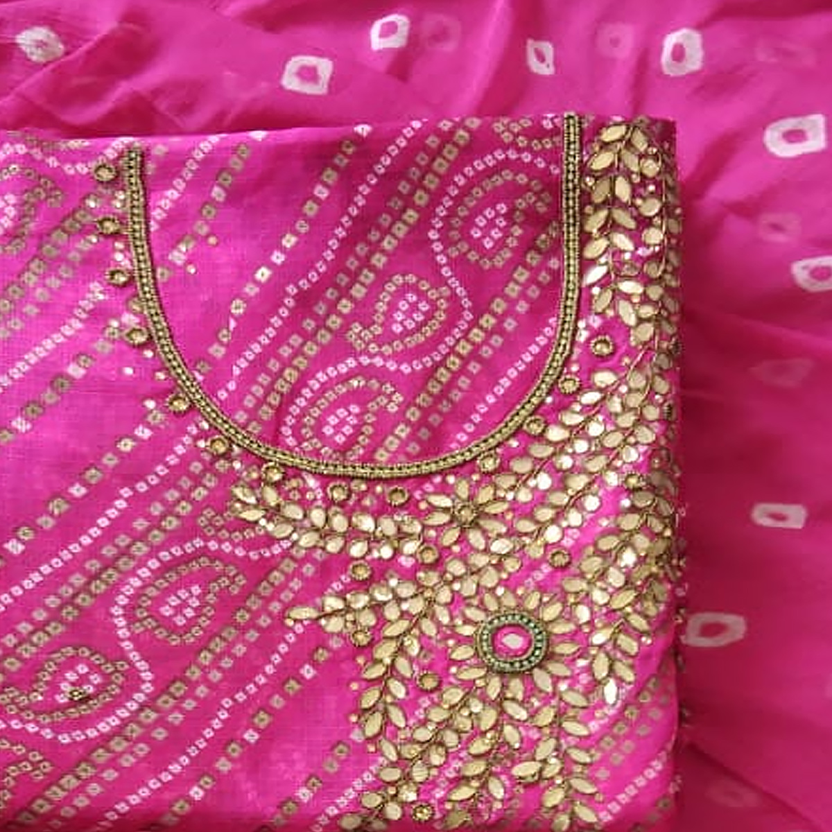 Charming Pink Colored Partywear Embroidered Cotton Silk Dress Material