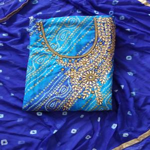 Marvellous Blue Colored Partywear Embroidered Cotton Silk Dress Material