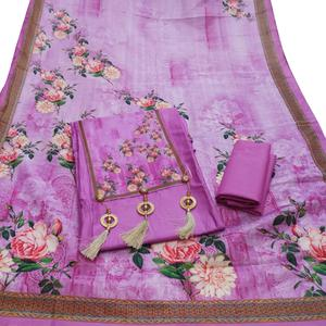 Beautiful Purple Colored Partywear Digital Printed Cotton Dress Material