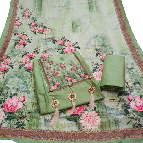 Refreshing Green Colored Partywear Digital Printed Cotton Dress Material