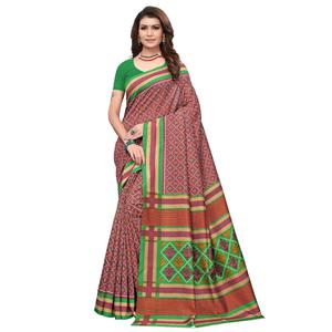 Intricate Dark Mauve Colored Casual Wear Printed Art Silk Saree