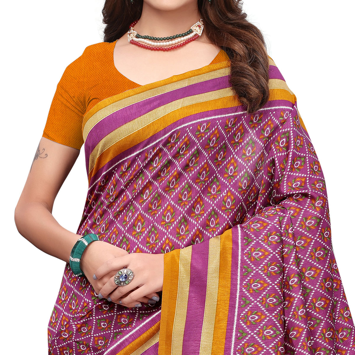 Desirable Violet Colored Casual Wear Printed Art Silk Saree