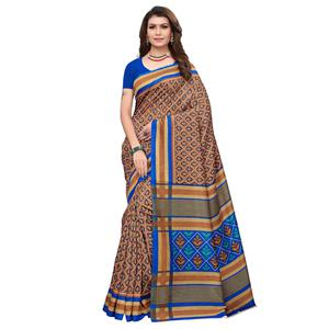 Demanding Brown Colored Casual Wear Printed Art Silk Saree