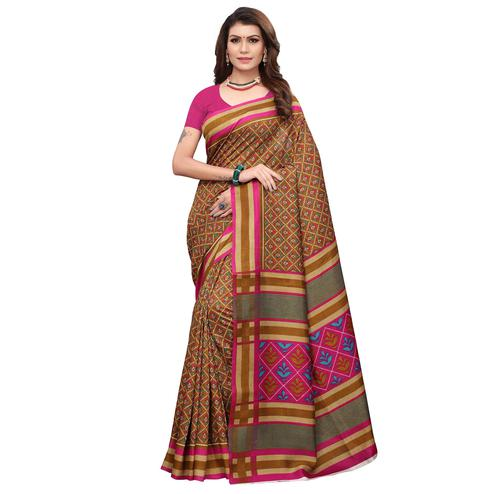 Pleasant Dark Mustard Yellow Colored Casual Wear Printed Art Silk Saree