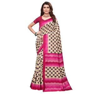 Unique Off White - Pink Colored Casual Wear Printed Art Silk Saree