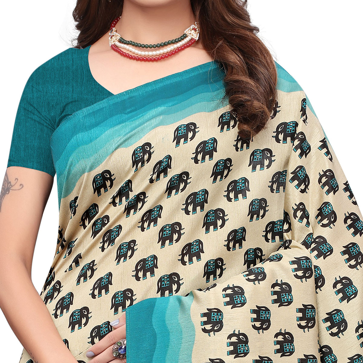 Refreshing Off White - Sky Blue Colored Casual Wear Printed Art Silk Saree