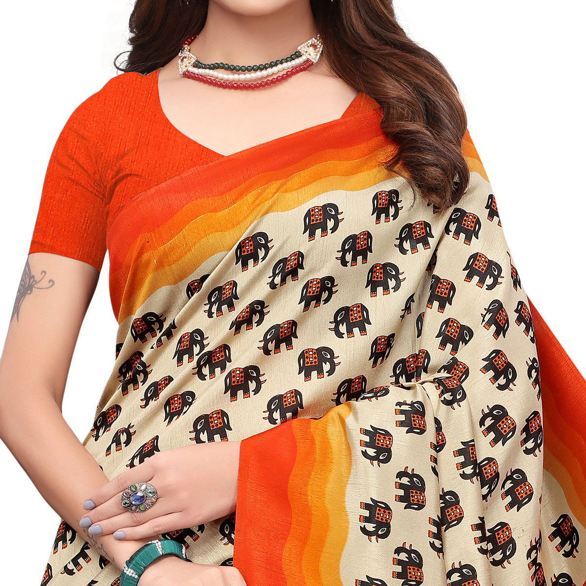 Elegant Off White - Orange Colored Casual Wear Printed Art Silk Saree