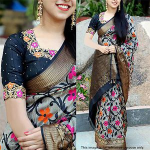 Awesome Gray Floral Printed Festive Wear Zharna Silk Saree