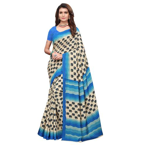 Alluring Off White - Blue Colored Casual Wear Printed Art Silk Saree
