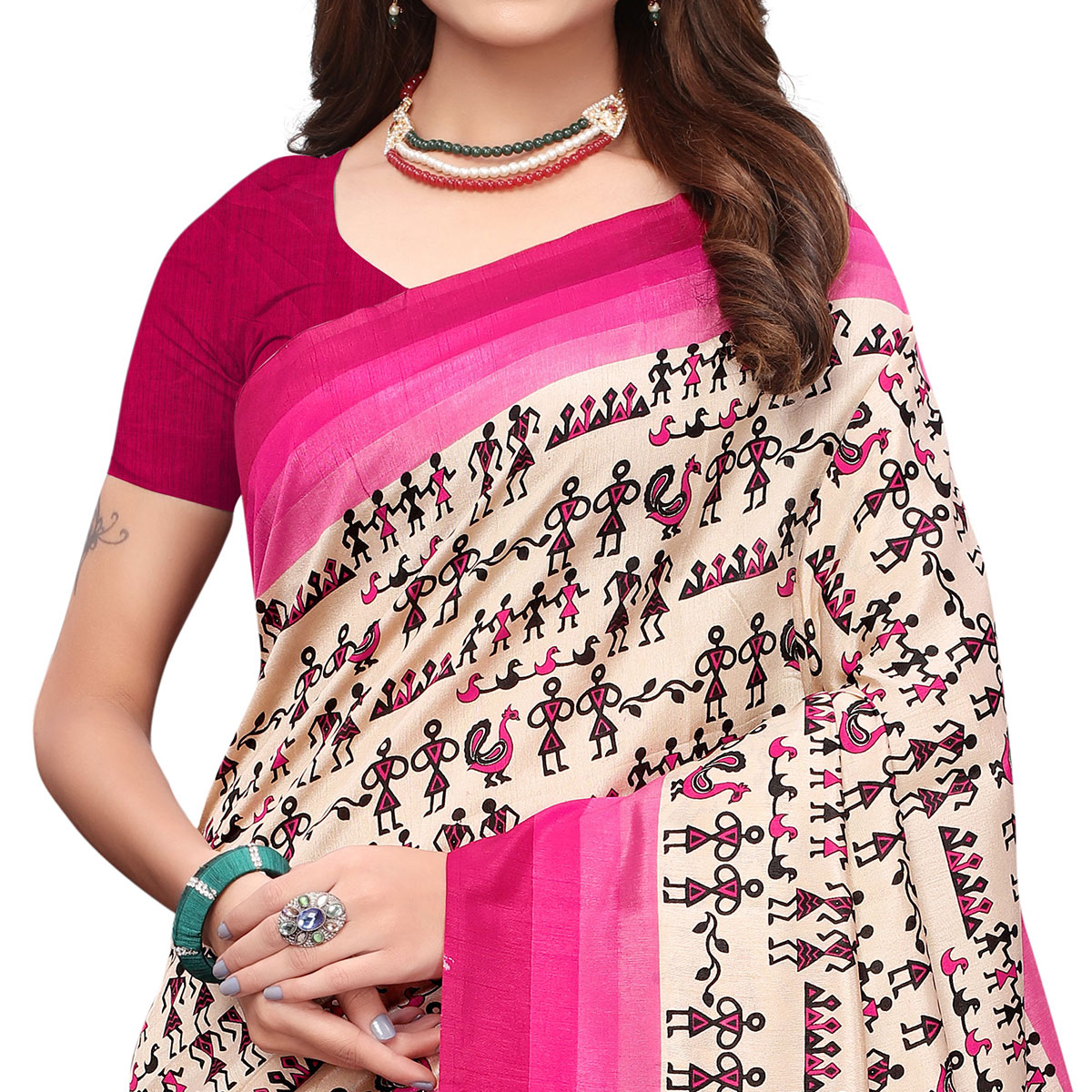 Radiant Off White - Pink Colored Casual Wear Printed Art Silk Saree