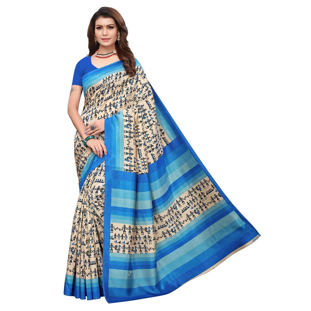 Sensational Off White - Blue Colored Casual Wear Printed Art Silk Saree