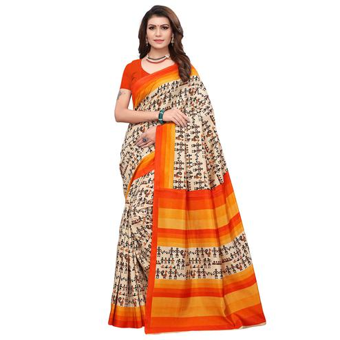 Opulent Off White - Orange Colored Casual Wear Printed Art Silk Saree
