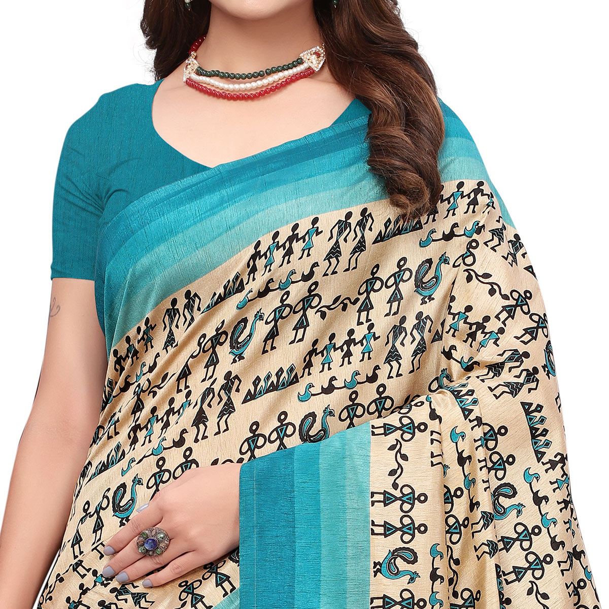 Dazzling Off White - Turquoise Colored Casual Wear Printed Art Silk Saree