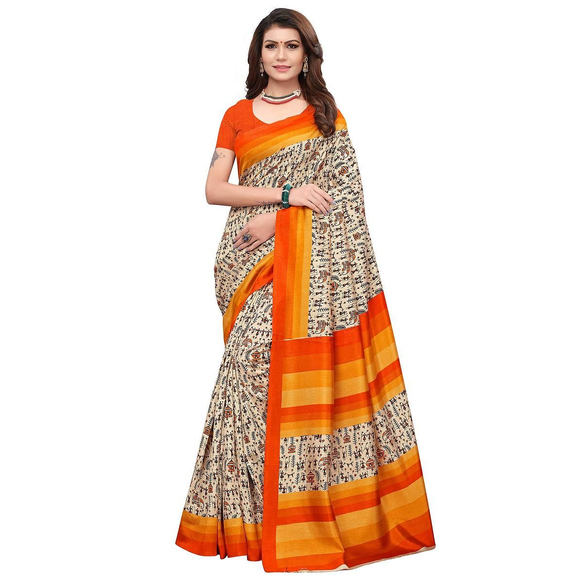 Flattering Off White - Orange Colored Casual Wear Printed Art Silk Saree