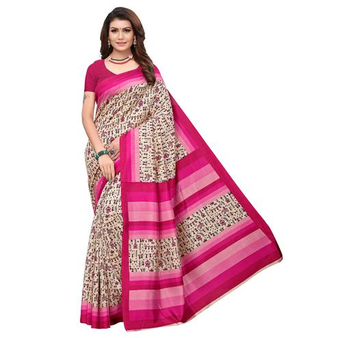 Breathtaking Off White - Pink Colored Casual Wear Printed Art Silk Saree