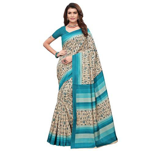 Impressive Off White - Turquoise Colored Casual Wear Printed Art Silk Saree