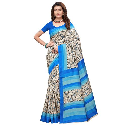 Innovative Off White - Blue Colored Casual Wear Printed Art Silk Saree
