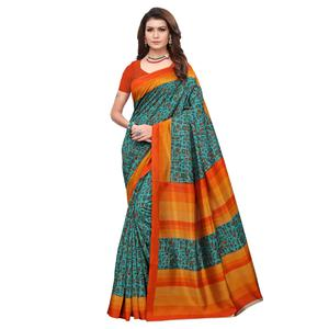 Gleaming Teal Green Colored Casual Wear Printed Art Silk Saree
