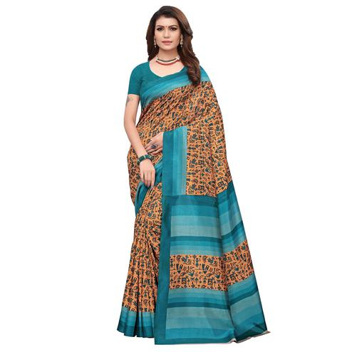 Arresting Light Brown Colored Casual Wear Printed Art Silk Saree