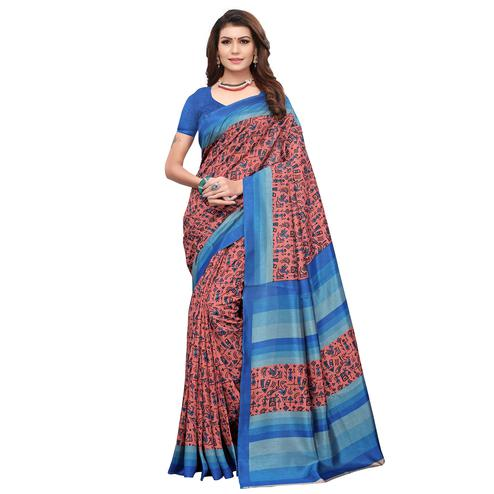 Exceptional Pink Color Casual Wear Printed Art Silk Saree