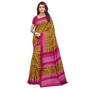 Excellent Mustard Yellow Colored Casual Wear Printed Art Silk Saree