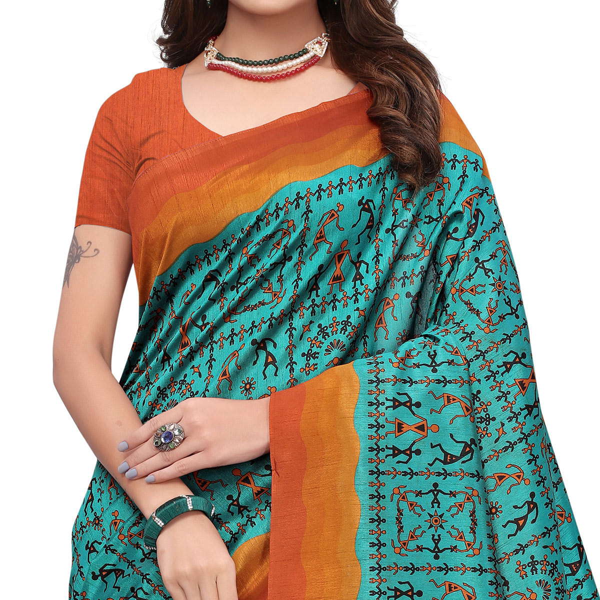 Ethnic Turquoise Green Colored Casual Wear Printed Art Silk Saree