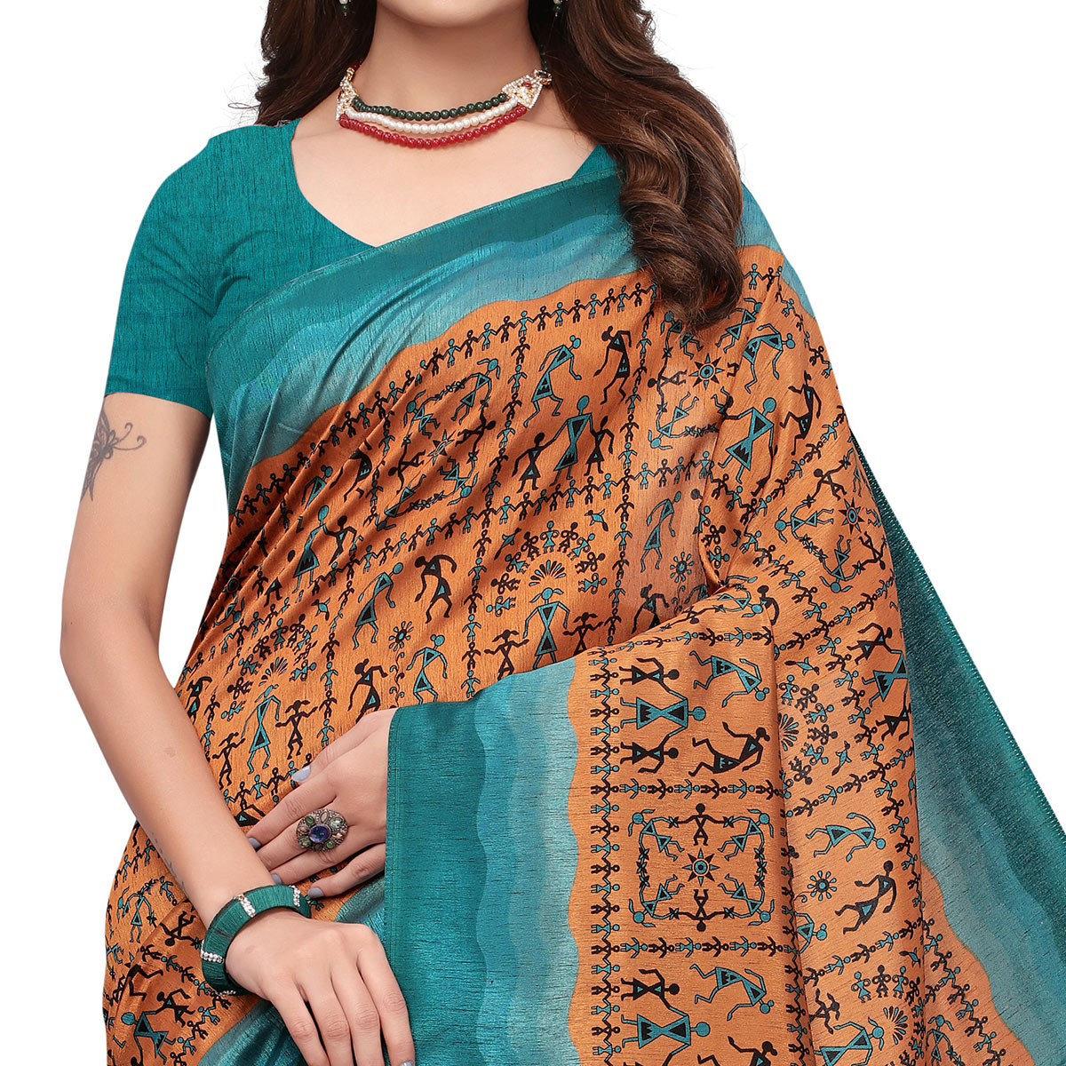 Starring Brown Colored Casual Wear Printed Art Silk Saree