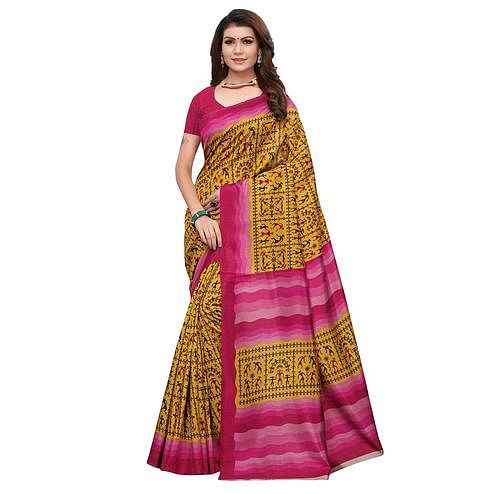 Flirty Mustard Yellow Colored Casual Wear Printed Art Silk Saree
