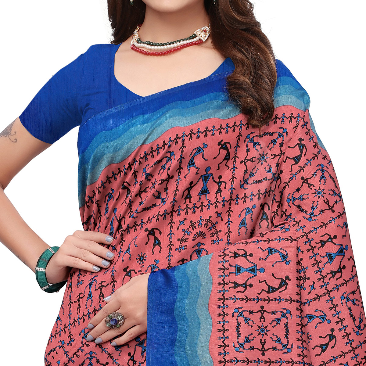 Glowing Pink Colored Casual Wear Printed Art Silk Saree