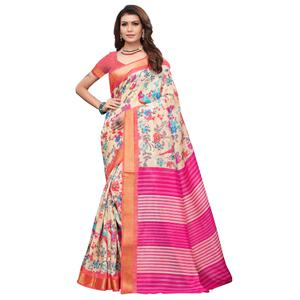 Adorable Cream-Pink Colored Casual Printed Art Silk Saree