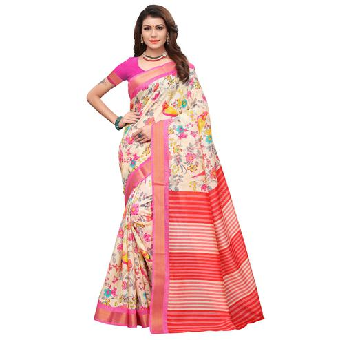 Attractive Cream-Red Colored Casual Printed Art Silk Saree