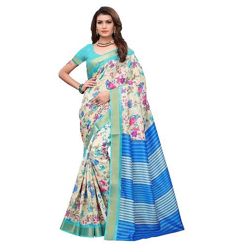Beautiful Cream-Blue Colored Casual Printed Art Silk Saree