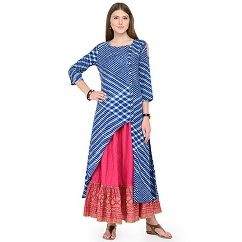 Lovely Blue-Pink Printed Cotton Kurti