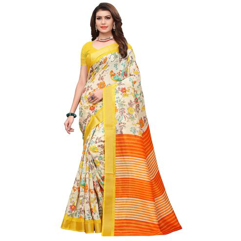 Gorgeous Cream-Orange Colored Casual Printed Art Silk Saree