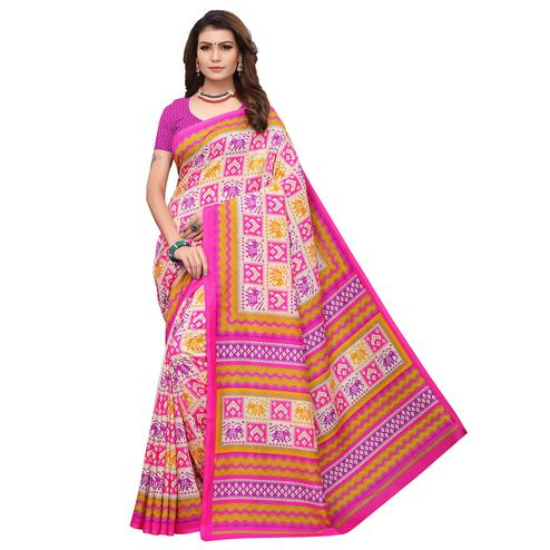 Classy Pink Colored Casual Printed Art Silk Saree