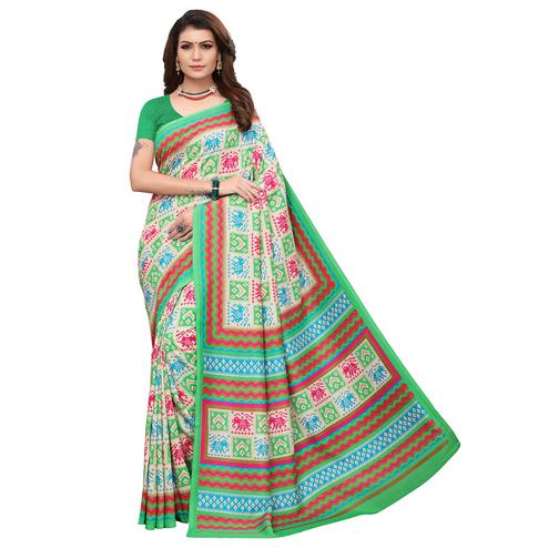Graceful Green Colored Casual Printed Art Silk Saree