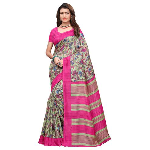 Pretty Light Green-Pink Colored Casual Printed Art Silk Saree