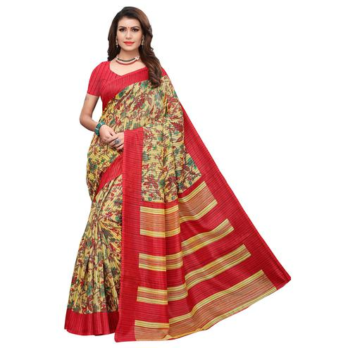 Charming Yellow-Red Colored Casual Printed Art Silk Saree