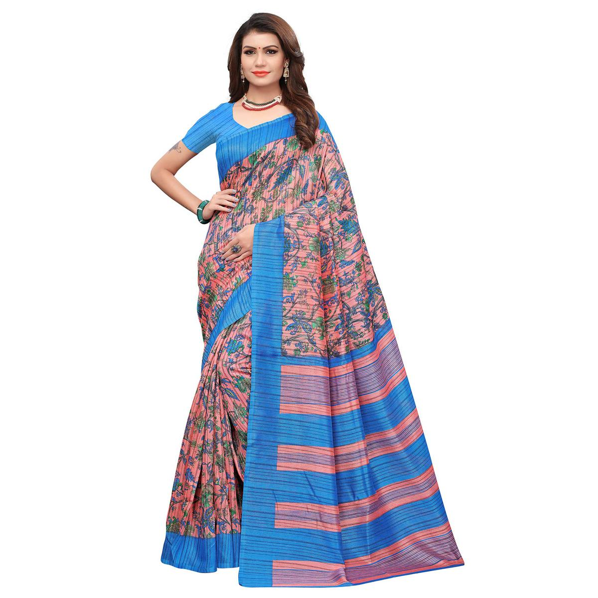 Ravishing Pink-Sky Blue Colored Casual Printed Art Silk Saree