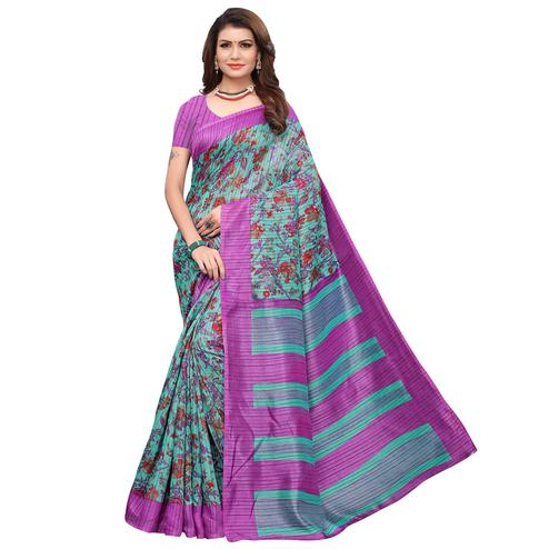 Delightful Sky Blue-Purple Colored Casual Printed Art Silk Saree