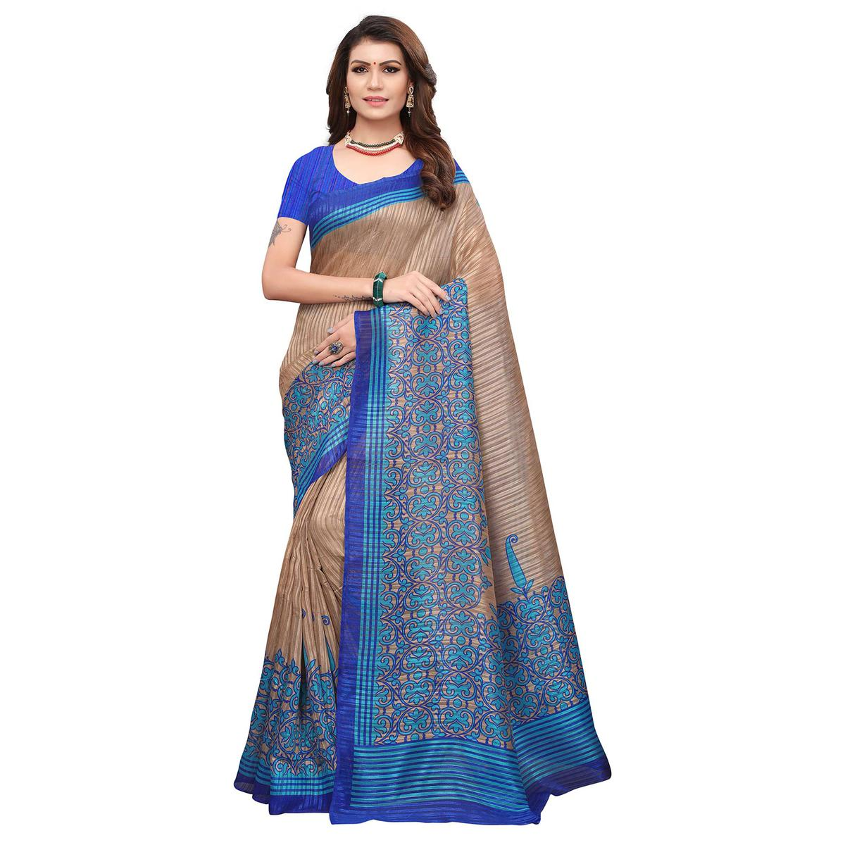 Stunning Brown-Blue Colored Casual Printed Art Silk Saree