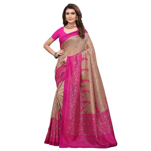 Blooming Brown-Pink Colored Casual Printed Art Silk Saree