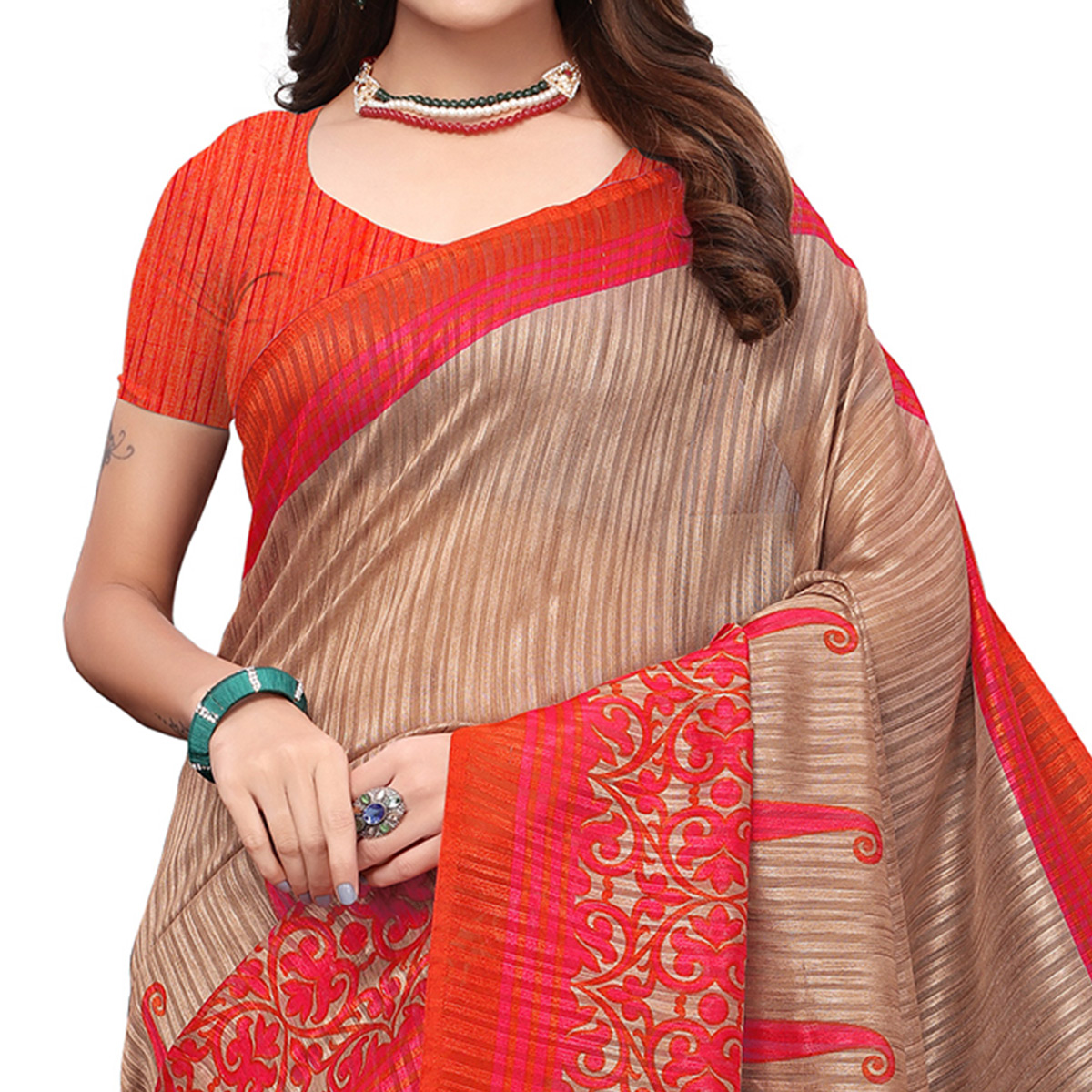 Marvellous Brown-Red Colored Casual Printed Art Silk Saree