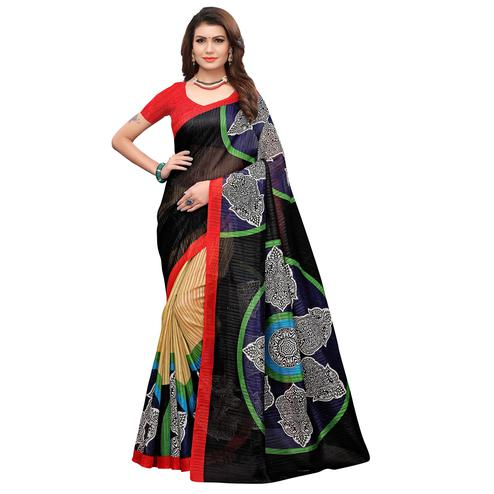 Ravishing Black-Red Colored Casual Printed Art Silk Saree