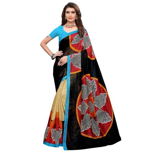 Eye-catching Black-Blue Colored Casual Printed Art Silk Saree